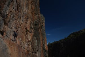 Climbing the classic 6c at the Sex Shop Chulilla.