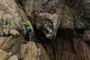 Sam playing Truant from work on this classic route in Fallen Block Zawn, Rhoscolyn.