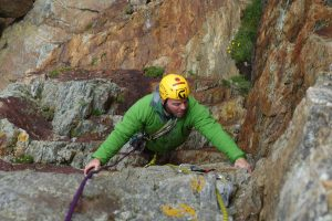 Sam following Icarus at Rhoscolyn, this classic HVS has a real beast if a crack at its end!
