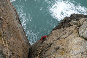 Simon Geering following the awesome Symphony Crack at rhoscolyn possible the best easy route at Gogarth