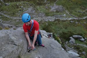 Josh Douglas on a two month rock climbing and instructor mentoring course in the UK. Here getting to grips with Tennis Shoe an excellent HS.