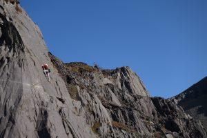 Kate Carothers enjoying the amazing Steps of Glory, F5, during a Uk climbing tour
