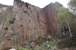 Our UK Trad Tour getting to grips with jamming in Milestone Quarry, the perfect crack school.