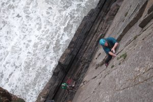 Josh Douglas ticking off another classic when he climbs Lost Horizon at Baggy Point, a cracking HVS.