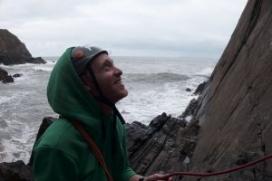 Jesse King smiling now but he hasn't seen the tidal wave bearing down on him at Baggy Point!