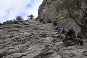 Pequeñeces III, 5a, one of the many easy routes that attract the crowds to Sella