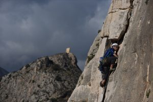 Viejos tiempos the old trad route, now fully bolted 4c at Toix.