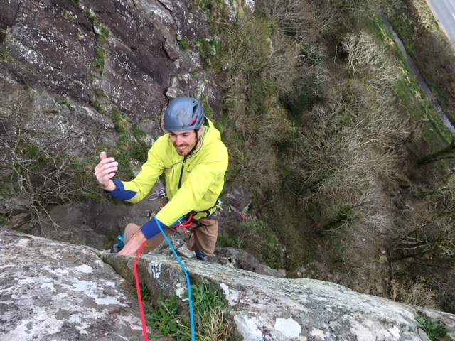 Jez Brown following me up the top pitch of Cream, E4 6a