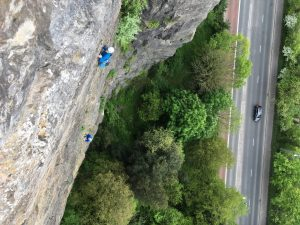 Simon and Wayne following up Yellow Wall, Avon Gorge