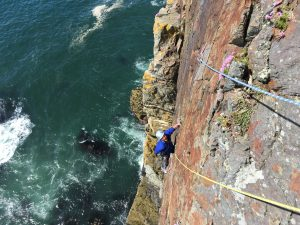 Matt following True Moments/Freebird, E2 5c, Castel Helen, Gogarth