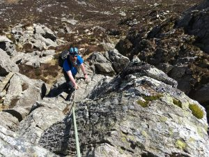 One of our regular clients enjoying a sunny day up Bastow Buttress on Tryfan.