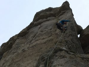 A classic 6a arete on Portland, one of the best sports routes in the UK for the grade.