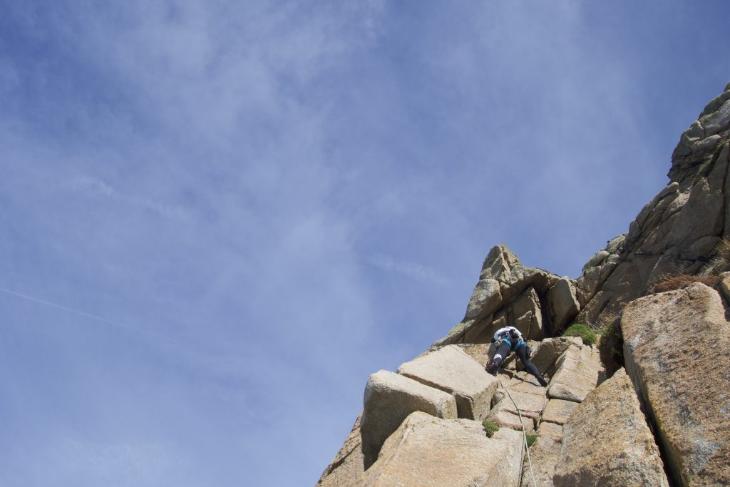 Emma leading Black Slab a classic Diff at Bosigran, Cornwall.