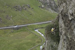 A climber blows the final crux moves of King Wad, fortunately its really steep!