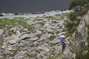 A climber on Pulit Route on Milestone Buttress in the Ogwen Valley.