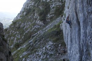 A thin and testing 6b at La Forced in the Picos De Europa.