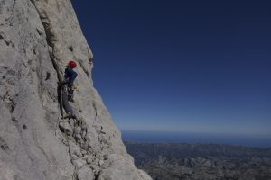 Jim leading up the amazing trad E1, Cepeda on Naranga De Bulnes in the Picos De Europa.
